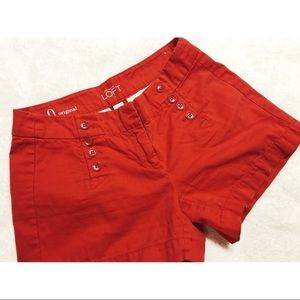 Loft • Red Button Hip Detail Shorts